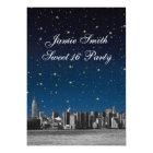 Etched NYC Skyline #3 Starry Blu Sunset Sweet 16 V Card