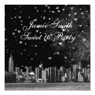 Etched NYC Skyline Black BG White Heart Sweet 16 13 Cm X 13 Cm Square Invitation Card
