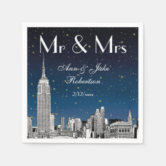 Etched NYC Skyline Blue Starry Wedding #2 Disposable Serviette