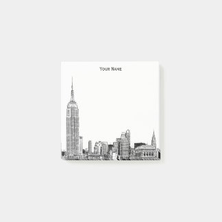 Etched NYC Skyline DIY BG Color Post-it Notes