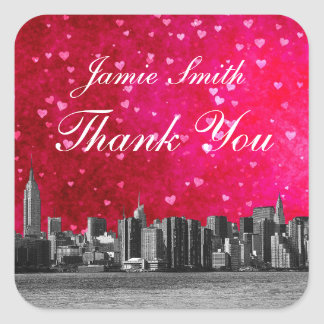 Etched NYC Skyline Hot Pink Red Heart Thank You Square Sticker