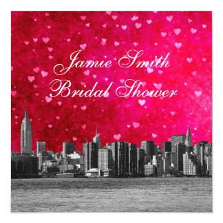 Etched NYC Skyline Hot Pink Red Hrt Bridal Shower Card