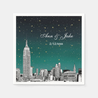 Etched NYC Skyline Shades of Teal Starry Wedding Disposable Serviettes