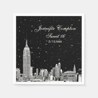 Etched NYC Skyline Starry DIY BG Sweet 16 Paper Napkin
