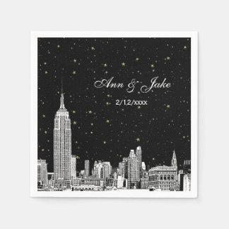 Etched NYC Skyline Starry DIY BG Wedding Paper Napkin