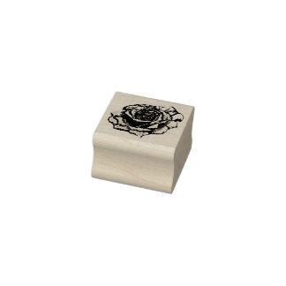 Etched Rose Rubber Stamp