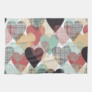 Etching Hearts Pattern Kitchen Towel