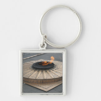 Eternal flame Silver-Colored square key ring