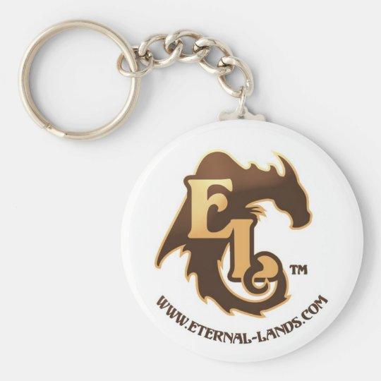 Eternal Lands Logo Keychain, Brown Basic Round Button Key Ring
