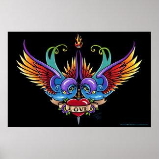 """Eternal Love"" Rainbow Swallow Heart Tattoo Poster"