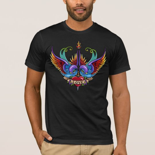 """Eternal Love"" Rainbow Swallow Heart Tattoo TShirt"