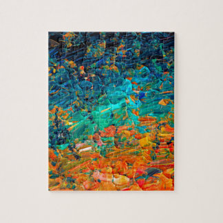 ETERNAL TIDE 2 Orange Turquoise Blue Black Ombre Jigsaw Puzzle