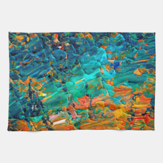 ETERNAL TIDE 2 Orange Turquoise Blue Black Ombre Tea Towel