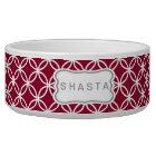 Eternity Circle Pattern Dog Bowl - cranberry