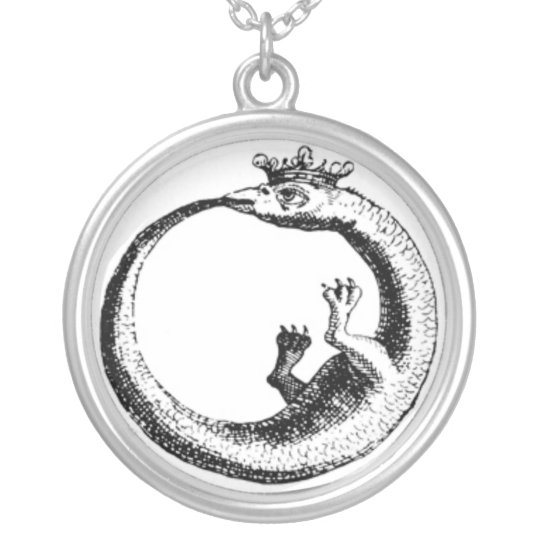 Eternity Serpent Vintage print Silver Plated Necklace