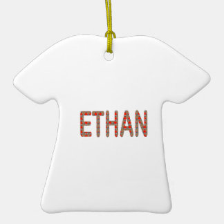 ETHAN nom name STICKERS Shirts n GIFTS NavinJOSHI Double-Sided T-Shirt Ceramic Christmas Ornament