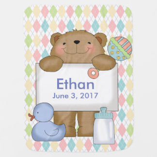 Ethan's Good News Bear Personalized Gifts Swaddle Blankets