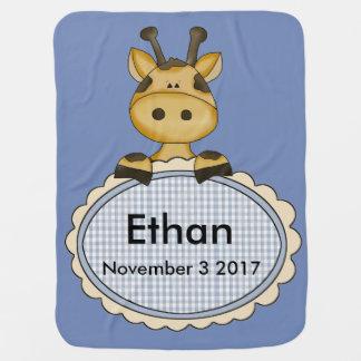 Ethan's Personalized Giraffe Pramblanket