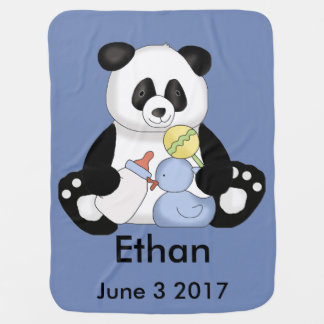 Ethan's Personalized Panda Receiving Blankets