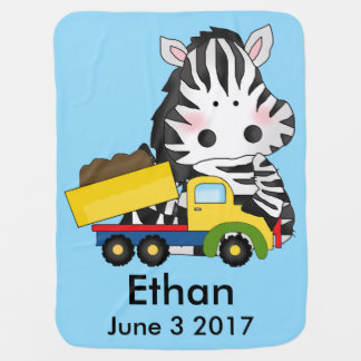 Ethan's Personalized Zebra Buggy Blankets