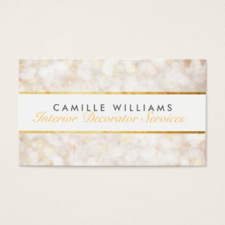 ETHEREAL BOKEH pattern elegant gold strip cream Business Card