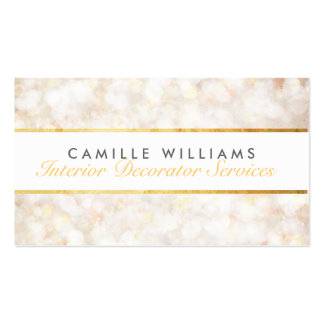 ETHEREAL BOKEH pattern elegant gold strip cream Pack Of Standard Business Cards