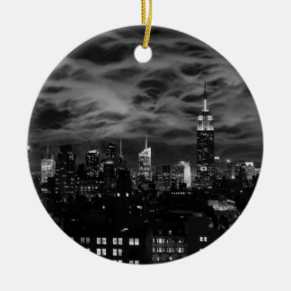 Ethereal Clouds: NYC Skyline, Empire State Bldg BW Christmas Ornament