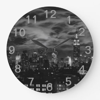 Ethereal Clouds: NYC Skyline, Empire State Bldg BW Large Clock