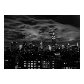 Ethereal Clouds: NYC Skyline, Empire State Bldg BW Poster