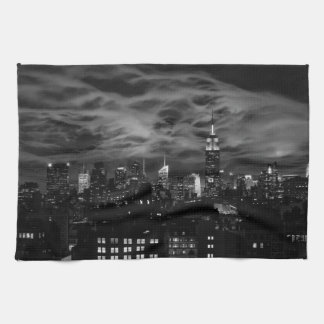 Ethereal Clouds: NYC Skyline, Empire State Bldg BW Tea Towel