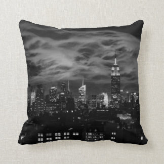 Ethereal Clouds: NYC Skyline, Empire State Bldg BW Throw Pillow