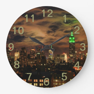 Ethereal Clouds: NYC Skyline, Empire State Bldg Wall Clock