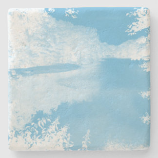 Ethereal Fantasy Blue, White Winter River Stone Coaster