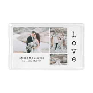 Ethereal Wedding | Love 3 Photo Collage Acrylic Tray