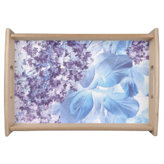 Ethereal Winter Purple and Blue Flora Serving Tray
