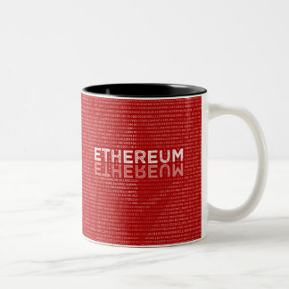 Ethereum Binary red mug with full text