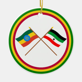 Ethiopia and Gambella Crossed Flags Christmas Ornament
