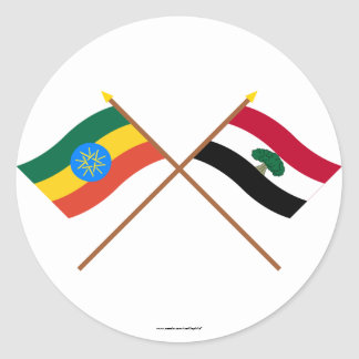 Ethiopia and Oromia Crossed Flags Classic Round Sticker
