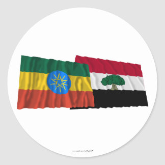 Ethiopia and Oromia Waving Flags Classic Round Sticker