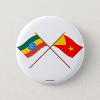 Ethiopia and Tigray Crossed Flags 6 Cm Round Badge