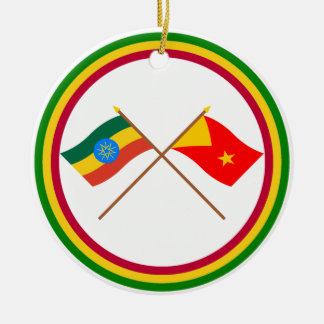 Ethiopia and Tigray Crossed Flags Christmas Ornament