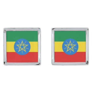 Ethiopia Flag Cufflinks Silver Finish Cuff Links