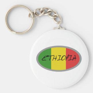 Ethiopia flag design! basic round button key ring