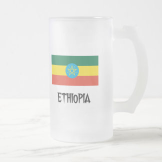 Ethiopia Flag Frosted Glass Beer Mug