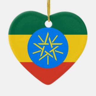 Ethiopia Flag Heart Christmas Ornament