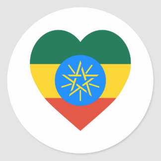 Ethiopia Flag Heart Classic Round Sticker
