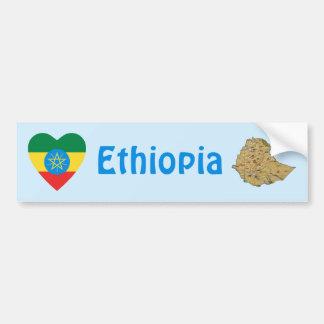 Ethiopia Flag Heart + Map Bumper Sticker