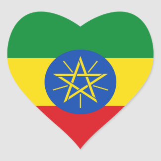 Ethiopia Flag Heart Sticker