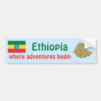 Ethiopia Flag + Map Bumper Sticker