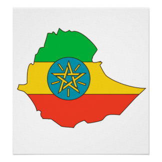 Ethiopia Flag Map full size Poster